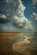 Beach Scenes Digital Art Posters - Beach and Clouds Poster by Linda Unger