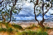 Michelle Digital Art - Beach and Trees by Michelle Calkins