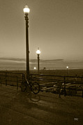 Sepia Toned Acrylic Prints - Beach At Night by Ben and Raisa Gertsberg