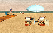 Umbrellas Digital Art - Beach at noon by Luis De la Fuente