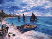 Monet Drawings Prints - Beach at Sainte Adresse Monet Print by Eric  Schiabor