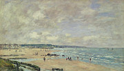 Shores Paintings - Beach at Trouville by Eugene Louis Boudin