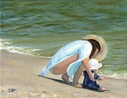 Water Scenes Painting Prints - Beach Baby Print by Deborah Butts