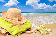 Bag Posters - Beach Bag With Sun Hat Poster by Christopher Elwell and Amanda Haselock