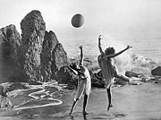 Beach Ball Dancing Print by Underwood Archives