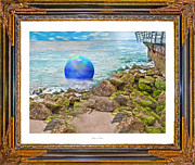 Surroundings Digital Art Posters - Beach Ball Dreamland Poster by Betsy A Cutler East Coast Barrier Islands