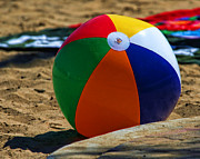 Beach Towel Posters - Beach Ball in Catalina by Diana Sainz Poster by Diana Sainz