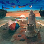 Ball Room Painting Metal Prints - Beach Ball Sand Castle at Sunset Metal Print by Shelli  Bowler