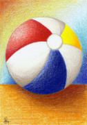Ball Drawings Framed Prints - Beach Ball Framed Print by Stephanie Troxell