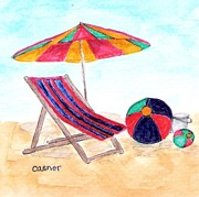 Hamptons Painting Posters - Beach Balls Poster by Colleen Casner