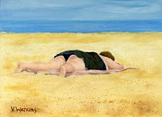 Sunbathing Paintings - Beach Beauty by Vicky Watkins