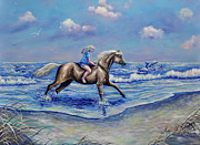 Gail Butler Prints - Beach Blonde Running Mates Print by Gail Butler