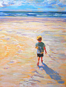 Little Boy Framed Prints - Beach Boy Framed Print by Allison Coelho Picone