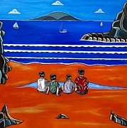 Locations Painting Prints - Beach Boys Print by Sandra Marie Adams