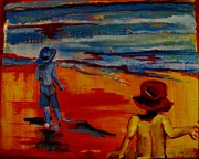 Beach Scenes Mixed Media - Beach Brothers by Grace Liberator