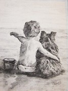 Oceans Drawings Prints - Beach Buddies Print by Andrea Flint Lapins