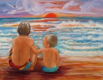Buddies Paintings - Beach Buddies II by Carol Allen Anfinsen