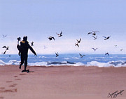 Little Birds Paintings - Beach Buddies by Suzanne Schaefer
