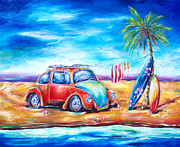 Surfboards Posters - Beach Bug Poster by Deb Broughton