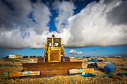 Old Hut Framed Prints - Beach Bulldozer. Framed Print by Gary Gillette
