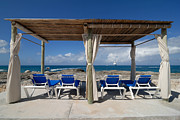 Hut Prints - Beach Cabana with Lounge Chairs Print by Amy Cicconi