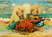 Guitar Player Digital Art - Beach Campfire by Karin Taylor