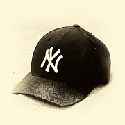 Ny Yankees Baseball Art Prints - Beach Cap Vintage Print by John Rizzuto