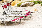 Beach Chairs Print by Bernard  Barcos