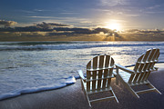 Sunset Scenes. Posters - Beach Chairs Poster by Debra and Dave Vanderlaan