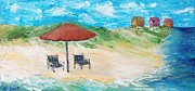 Panama City Beach Painting Framed Prints - Beach Chairs of South Walton Framed Print by Susan Hart