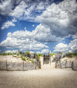 Blue Sky And Sand Posters - Beach Clouds and Fence Poster by Vicki Jauron