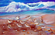 Sandpiper Painting Framed Prints - Beach Comber 2 Framed Print by To-Tam Gerwe