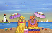 Sisters Sculpture Metal Prints - Beach Date Metal Print by Anne Klar