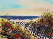Sea Shore Drawings Prints - Beach Entry Print by John  Williams