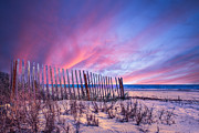 Sunset Scenes. Prints - Beach Fences Print by Debra and Dave Vanderlaan