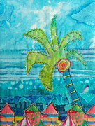 Landscape Greeting Cards Tapestries - Textiles Posters - Beach Fest Poster by Susan Rienzo