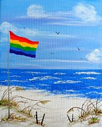 Beach Flag Print by JoNeL  Art