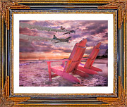 Chairs Digital Art Prints - Beach Flight II  Print by Betsy A Cutler East Coast Barrier Islands