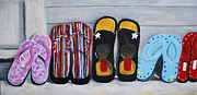 Flip-flops Paintings - Beach Flip Flops by Stacey Rivera