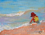 Forsythe Posters - Beach Girl in Red Hat Poster by Jeanne Forsythe