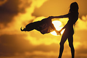 Surf Silhouette Metal Prints - Beach Girl Metal Print by Sean Davey