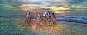 Morning Race Prints - Beach Horses II Print by Betsy A Cutler East Coast Barrier Islands