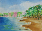 Puerto Rico Painting Metal Prints - Beach Hotels in Puerto Rico Metal Print by Frank Hunter