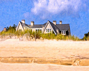 York Beach Digital Art Prints - Beach House In the Hamptons Print by Mark E Tisdale