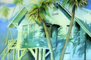 Bright Prints Painting Originals - Beach House by Julianne Felton