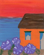 Curtains Originals - Beach House with Sunset by Melissa Vijay Bharwani