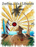 Surf Lifestyle Paintings - Beach Hut Surfing Surfboards Coastal Tropical Art Painting ITS A BEACH LIFE by MAD Outfitters by MAD Outfitters