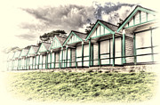 Shed Digital Art Metal Prints - Beach Huts 4 Metal Print by Steve Purnell
