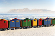 Beach Huts Framed Prints - Beach Huts at Muizenberg Framed Print by Neil Overy