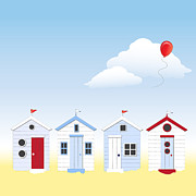 Hut Prints - Beach huts Print by Jane Rix